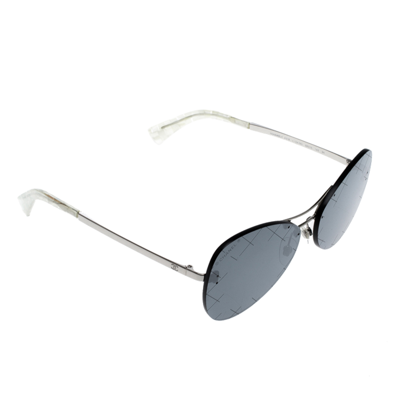 053ee3c576492 Buy Chanel Silver Black 4218 Mirror Quilted Rimless Aviator ...