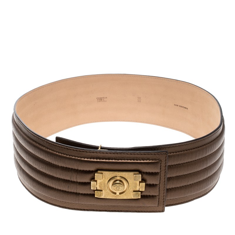 Buy Chanel Bronze Striped Leather Waist Boy Belt 90cm 128032 at best ... 13ecb82b9b