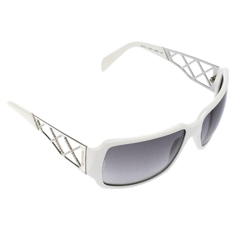 683c5744ea365 ... Chanel White 5074-B Crystal Embellished Rectangular Sunglasses.  nextprev. prevnext