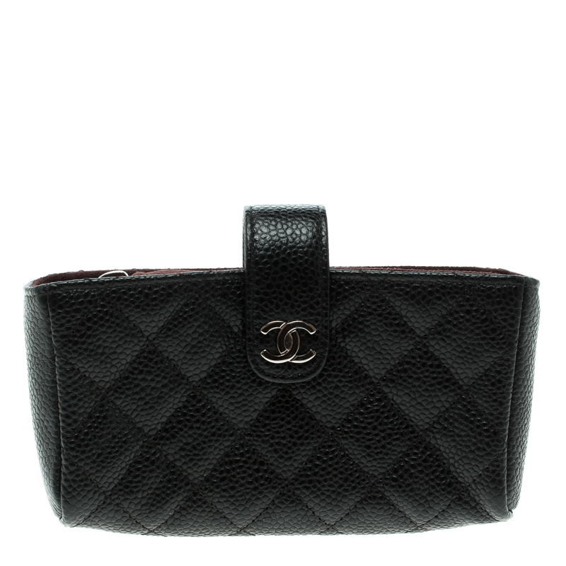 74a6dc9b1b0d Buy Chanel Black Quilted Leather iPhone Pouch 133775 at best price | TLC