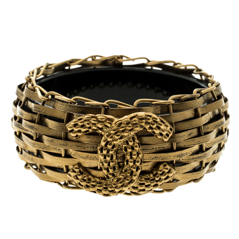 Chanel CC Gold Tone Basketweave & Resin Wide Bangle Bracelet