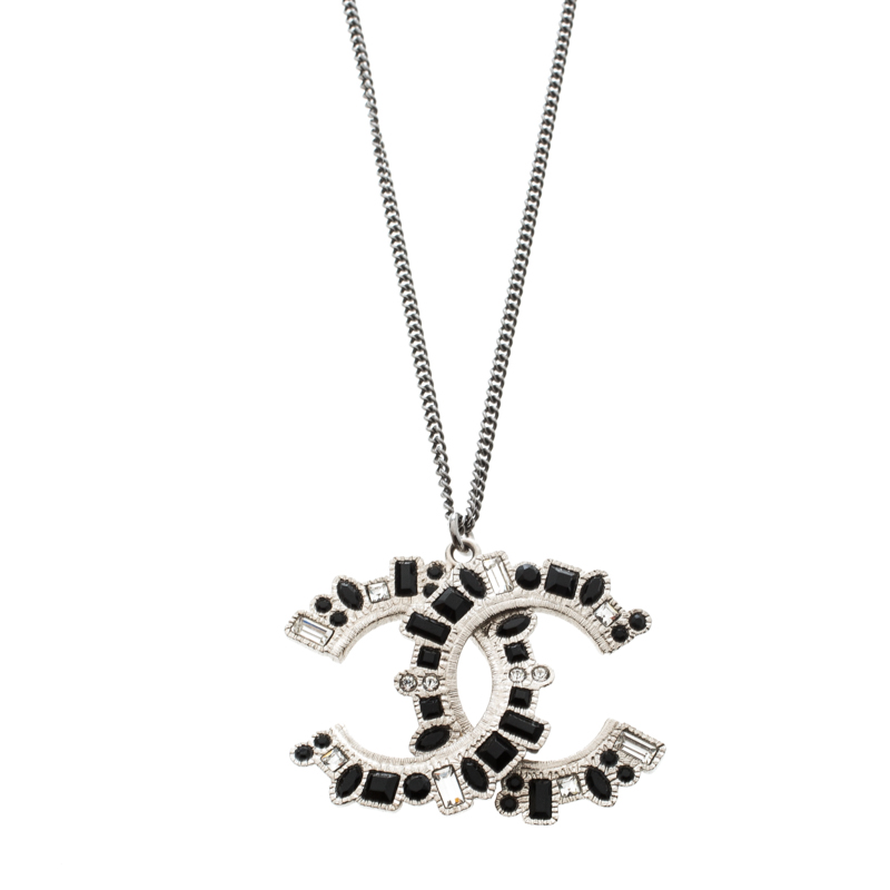 website for discount performance sportswear on sale Chanel CC Crystal Embellished Silver Tone Pendant Necklace Chanel ...