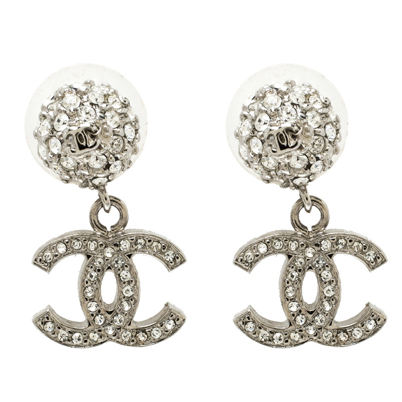 d2431b85df895d ... Chanel CC Crystal Studded Silver Tone Drop Earrings. nextprev. prevnext