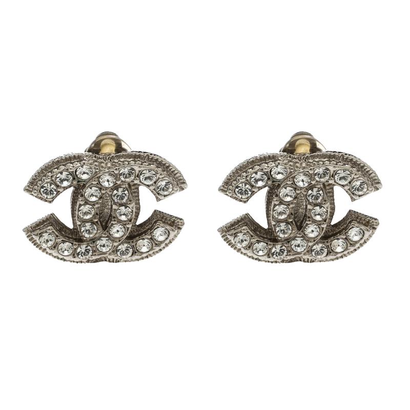 99f1f414d90cfc ... Chanel CC Crystal Silver Tone Clip-On Stud Earrings. nextprev. prevnext