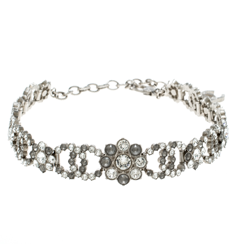 d97bd1081563c Buy Chanel CC Flower Crystal Embellished Silver Tone Choker Necklace ...
