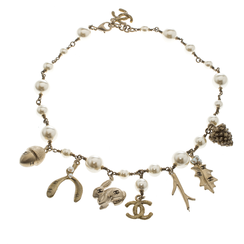 Chanel Faux Pearl Autumn Theme Charms Gold Tone Necklace