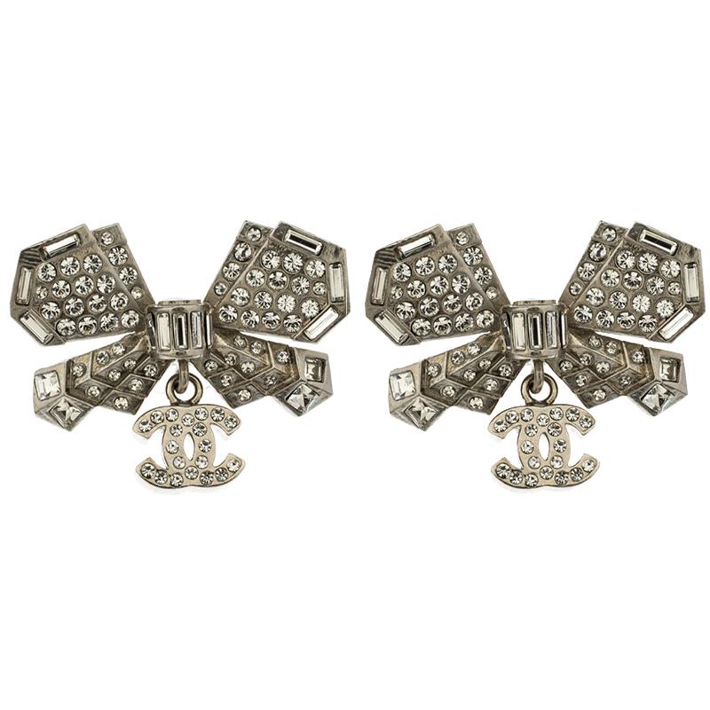 cb9a1561542f65 ... Chanel CC Bow Crystal Silver Tone Drop Earrings. nextprev. prevnext