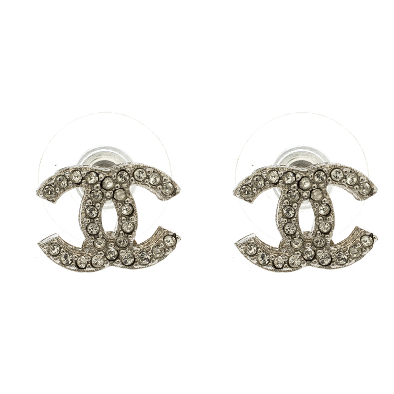 f76a72bc07d843 ... Chanel CC Crystal Silver Tone Mini Stud Earrings. nextprev. prevnext