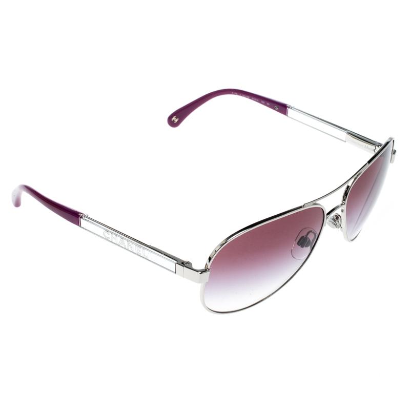 3aa79e225447f ... Frame Source · Buy Chanel Silver Purple Gradient 4179 Miroir Aviator  Sunglasses