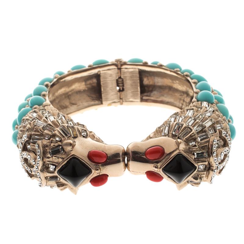 7d50d918053 ... Crystal Detailed Lion Head Hinged Cuff Bracelet. nextprev. prevnext
