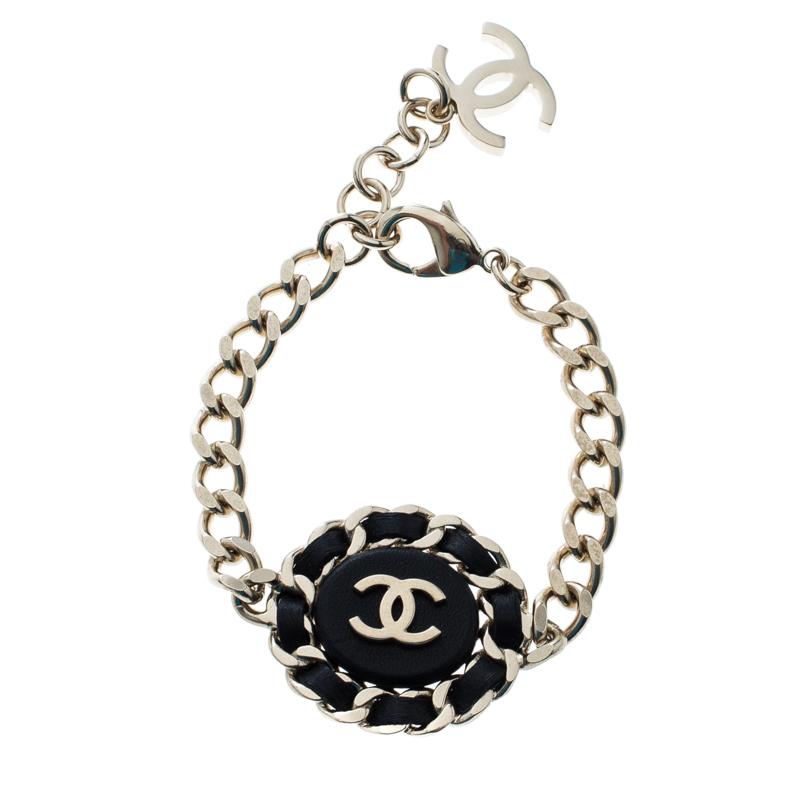 88bcd9e276a ... Chanel CC Black Leather Gold Tone Chain Link Bracelet. nextprev.  prevnext
