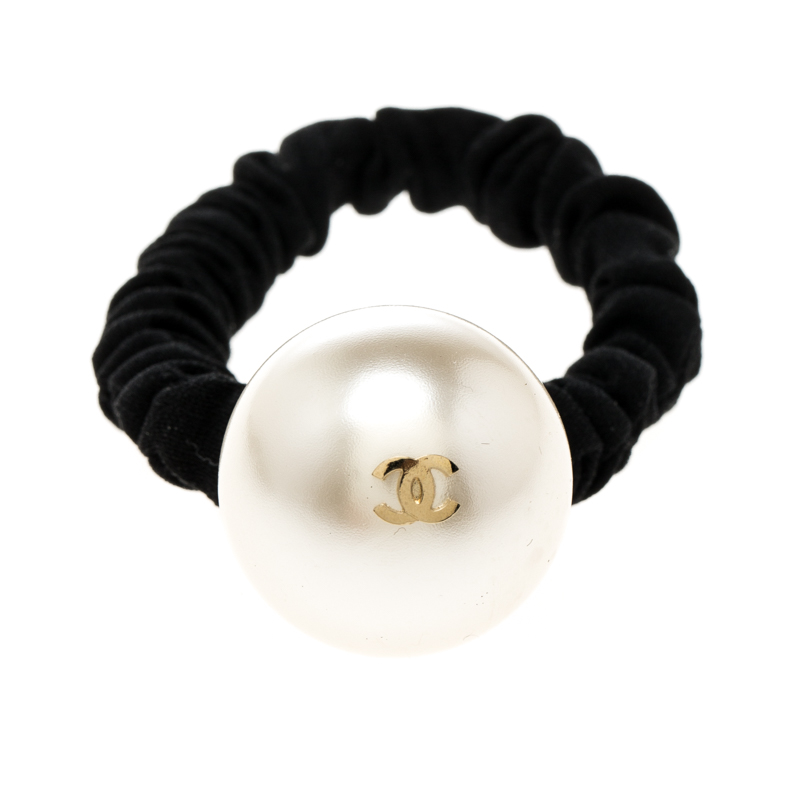 Buy Chanel CC Faux Pearl Embellished Hair Scrunchie 167709 at best ... 4c68b40ca0f