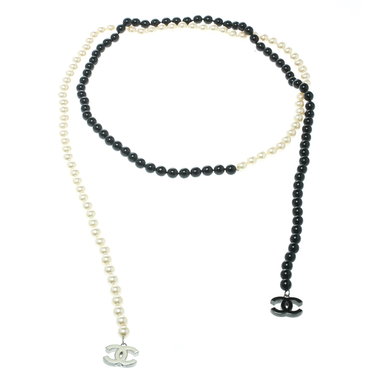 bcd954c55c4fa Chanel Faux Pearl & Black Beads String Wrap Around Necklace