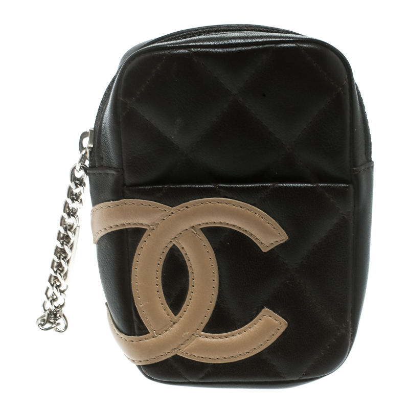 7f5bde84c51f Buy Chanel Brown Quilted Leather Cambon Ligne Phone Case 178670 at ...