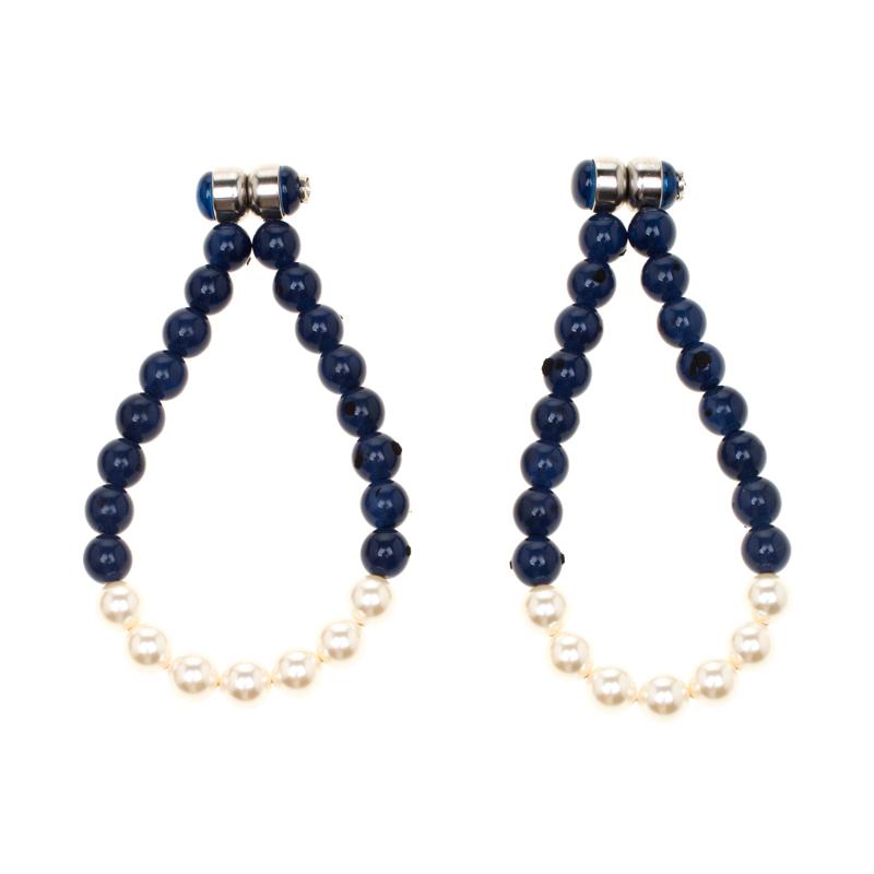 Chanel Navy Blue Bead Faux Pearl Magnetic Hoop Earrings