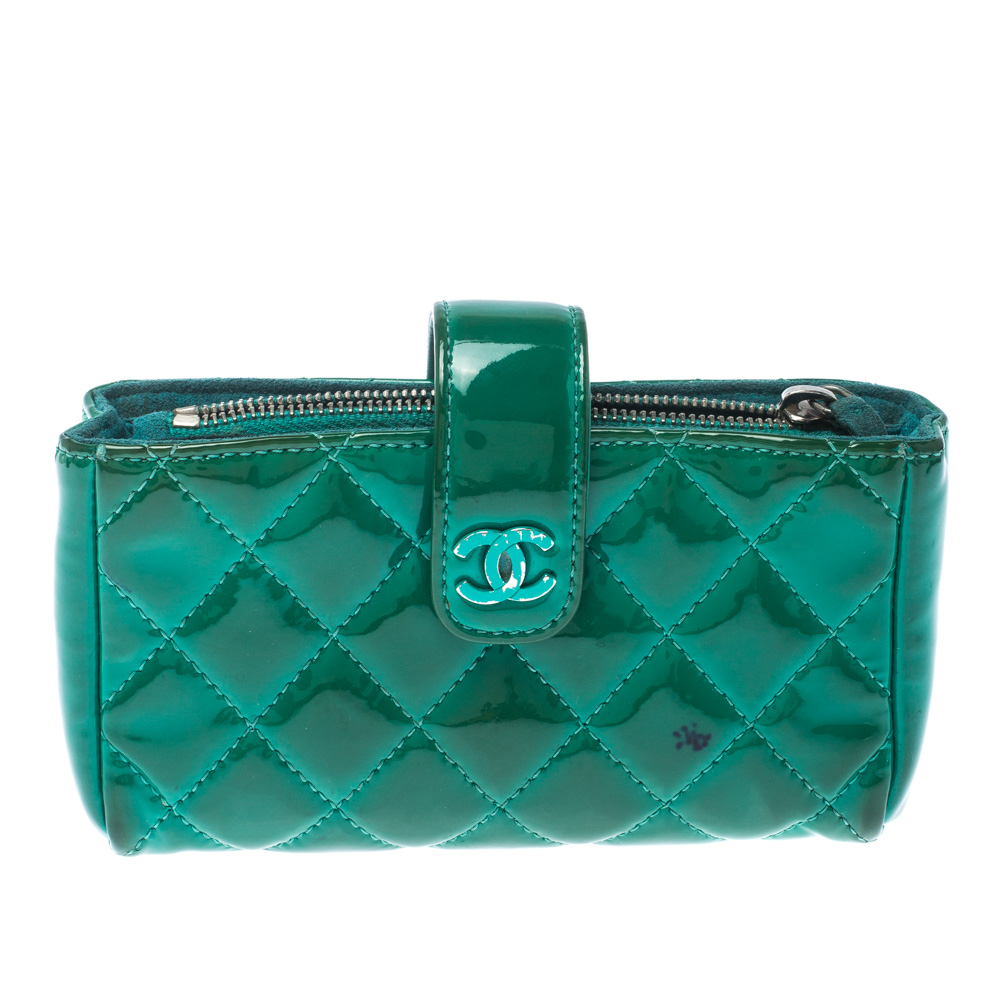Chanel Green Quilted Patent Leather iPhone Pouch