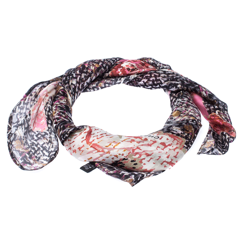 Chanel Multicolor Floral Printed Silk Scarf