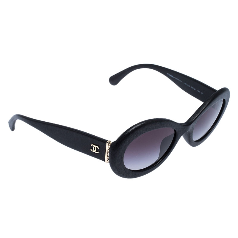 Chanel Black/Grey Gradient 5404Q Leather Oval Sunglasses