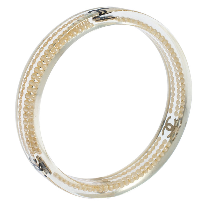 Chanel Clear Resin CC Logo and Pearl Lucite Bangle, White