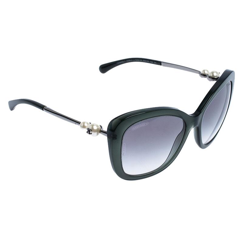 Chanel Dark Green/Black Gradient 5339-H Pearl Square Sunglasses