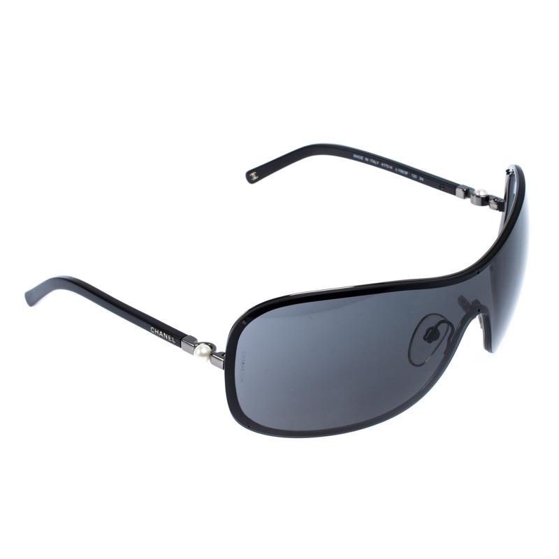 Chanel Gunmetal Tone/ Grey 4170-H Collection Perle Shield Sunglasses