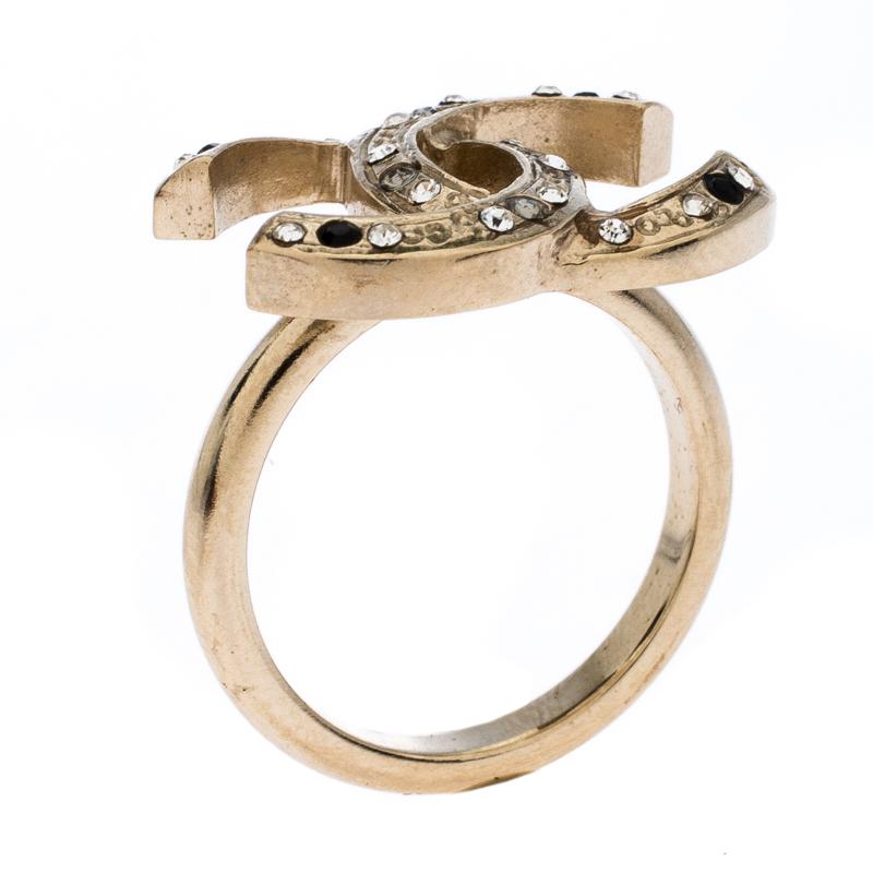 Chanel CC Crystal Embellished Pale Gold Tone Ring Size EU 52.5