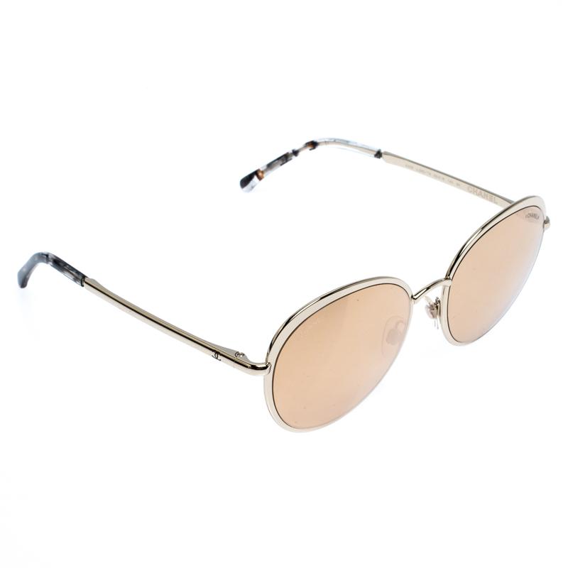 نظارة شمسية 4206 عاكسة مستديرة ذهبية