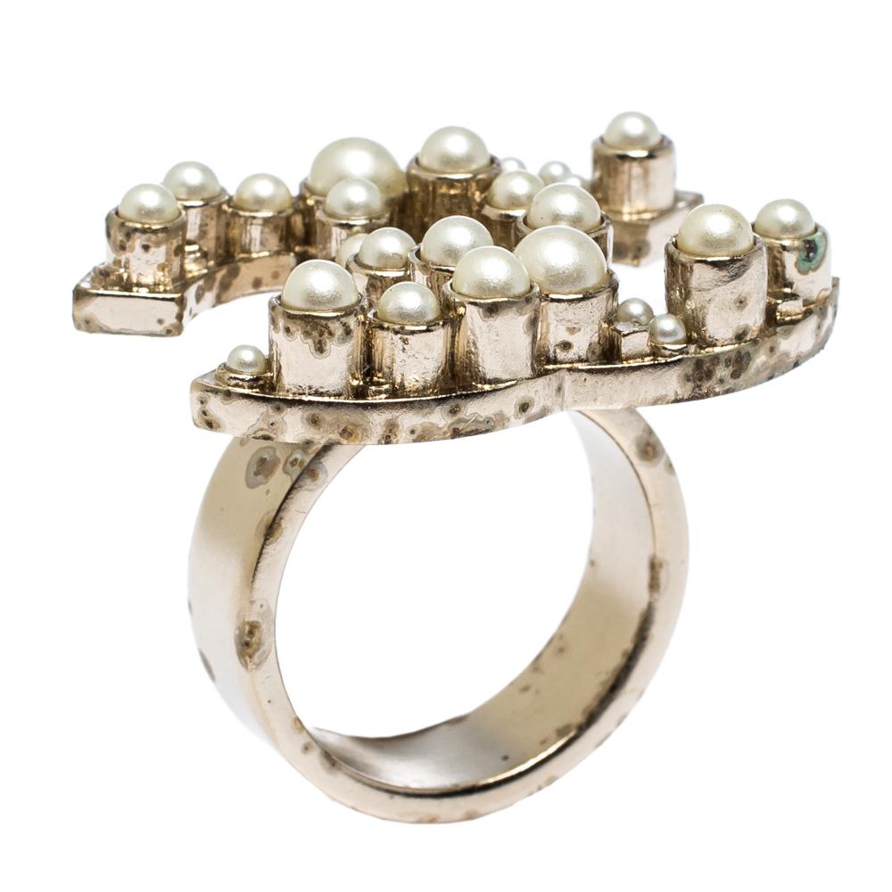 Chanel Pale Gold Tone Faux Pearl CC Ring Size EU 55