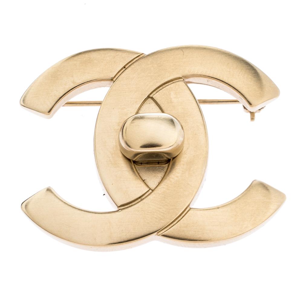 Chanel CC Turn Lock Motif Gold Tone Pin Brooch