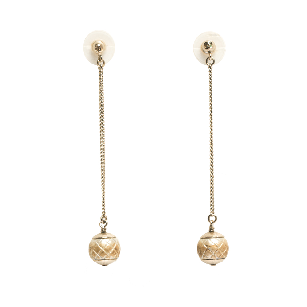 Chanel CC Textured Faux Pearl Gold Tone Drop Earrings