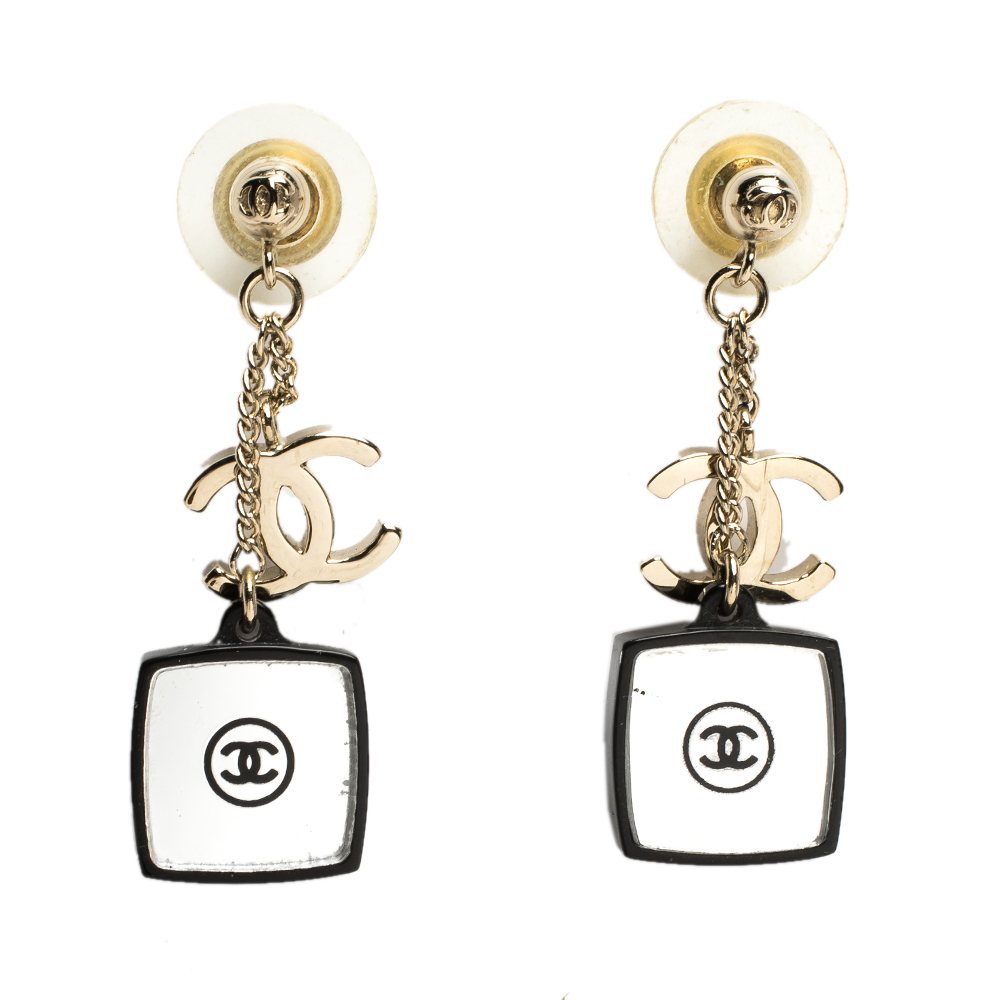 Chanel CC Crystal Resin Mirrored Gold Tone Dangle Earrings