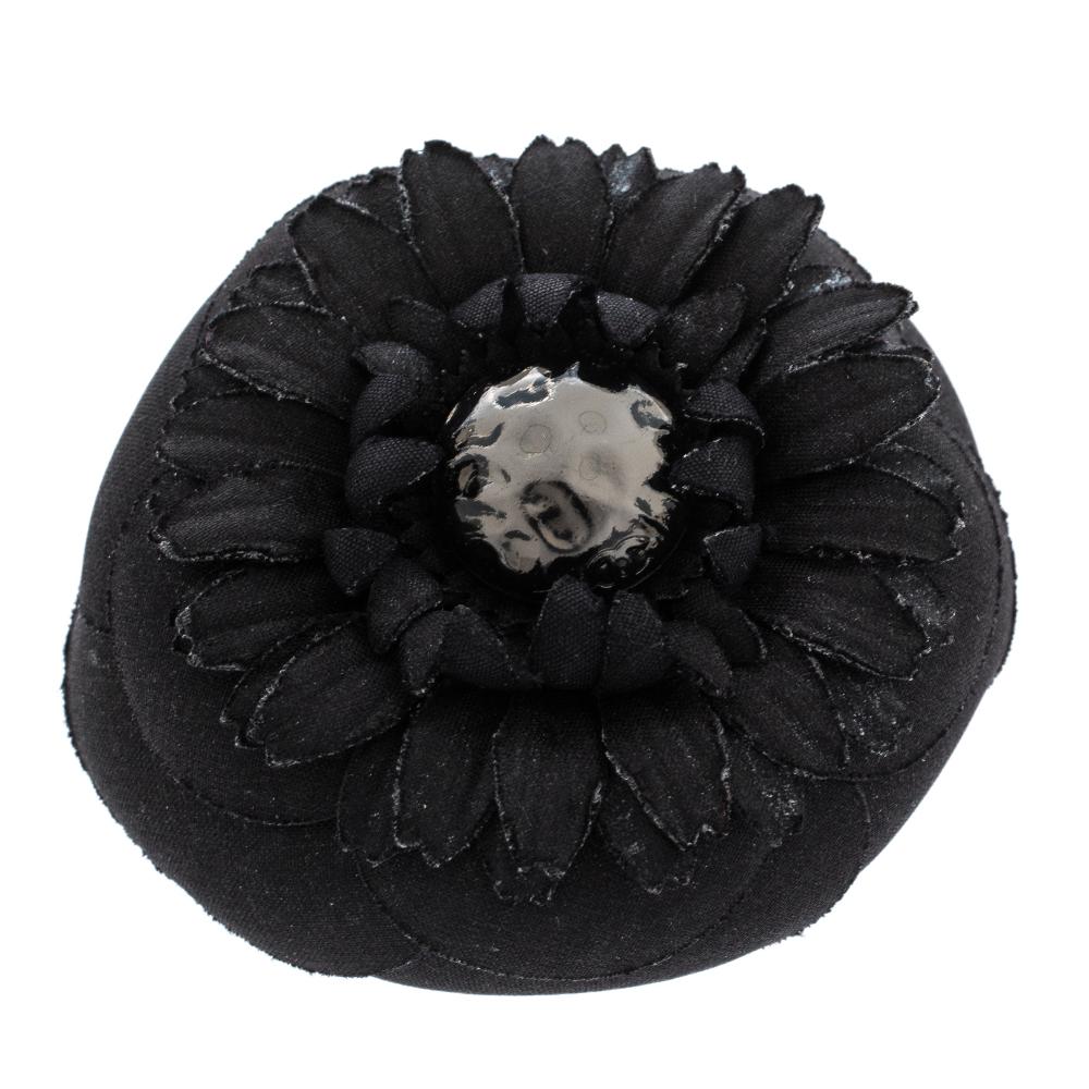 Chanel Black Fabric Blend Flower Pin Brooch