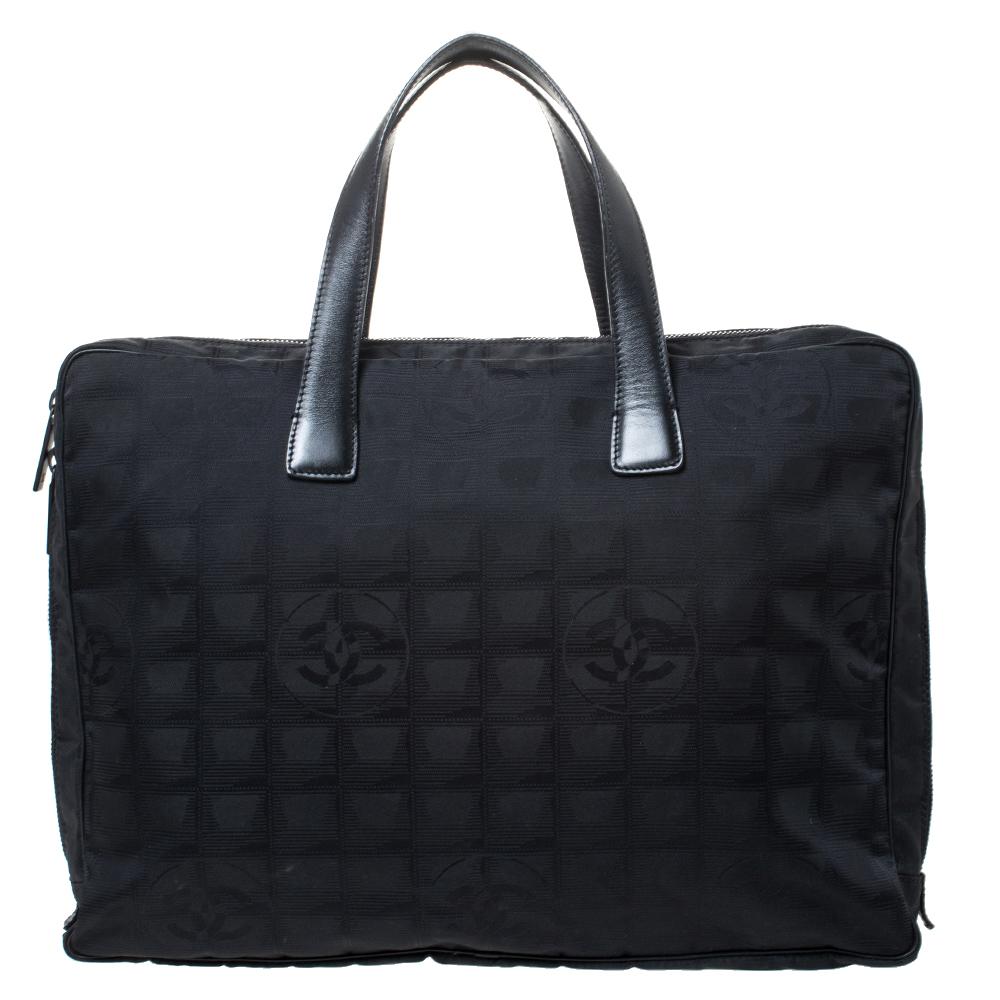 Chanel Black Nylon and Leather Travel Ligne Document Bag