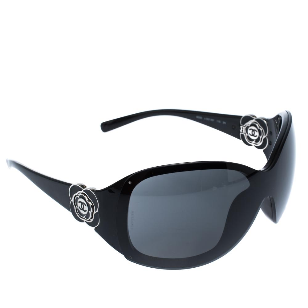 Chanel Black 6032 Camellia Oversize Sunglasses