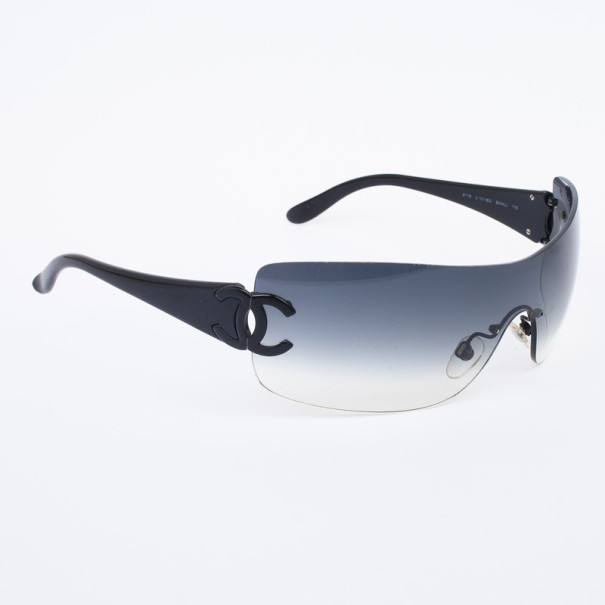 d2e3bb7b5 Buy Chanel Black 4119 Rimless Shield CC Logo Women Sunglasses 30548 ...
