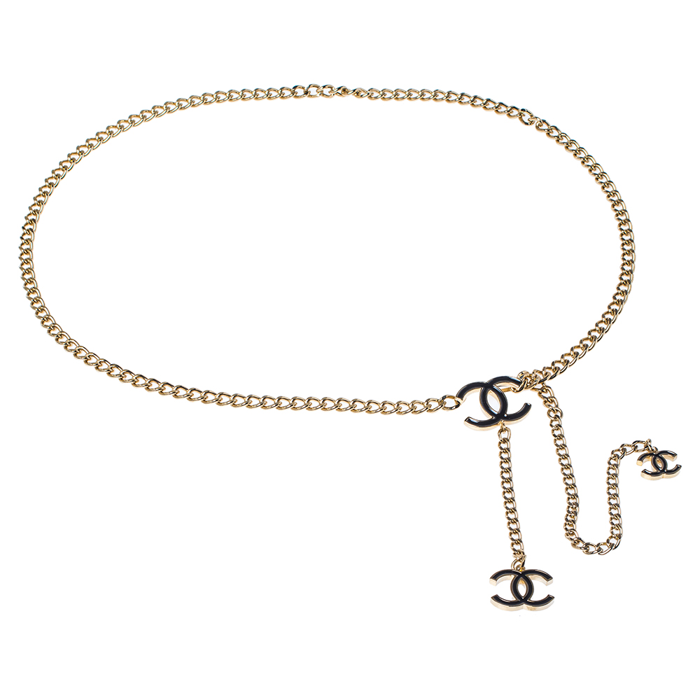 Chanel Gold Tone Chain Link CC Charm Belt