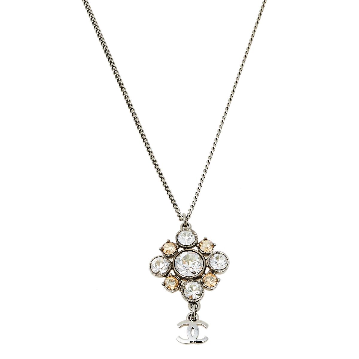 Chanel Silver Tone CC Crystal Pendant Necklace
