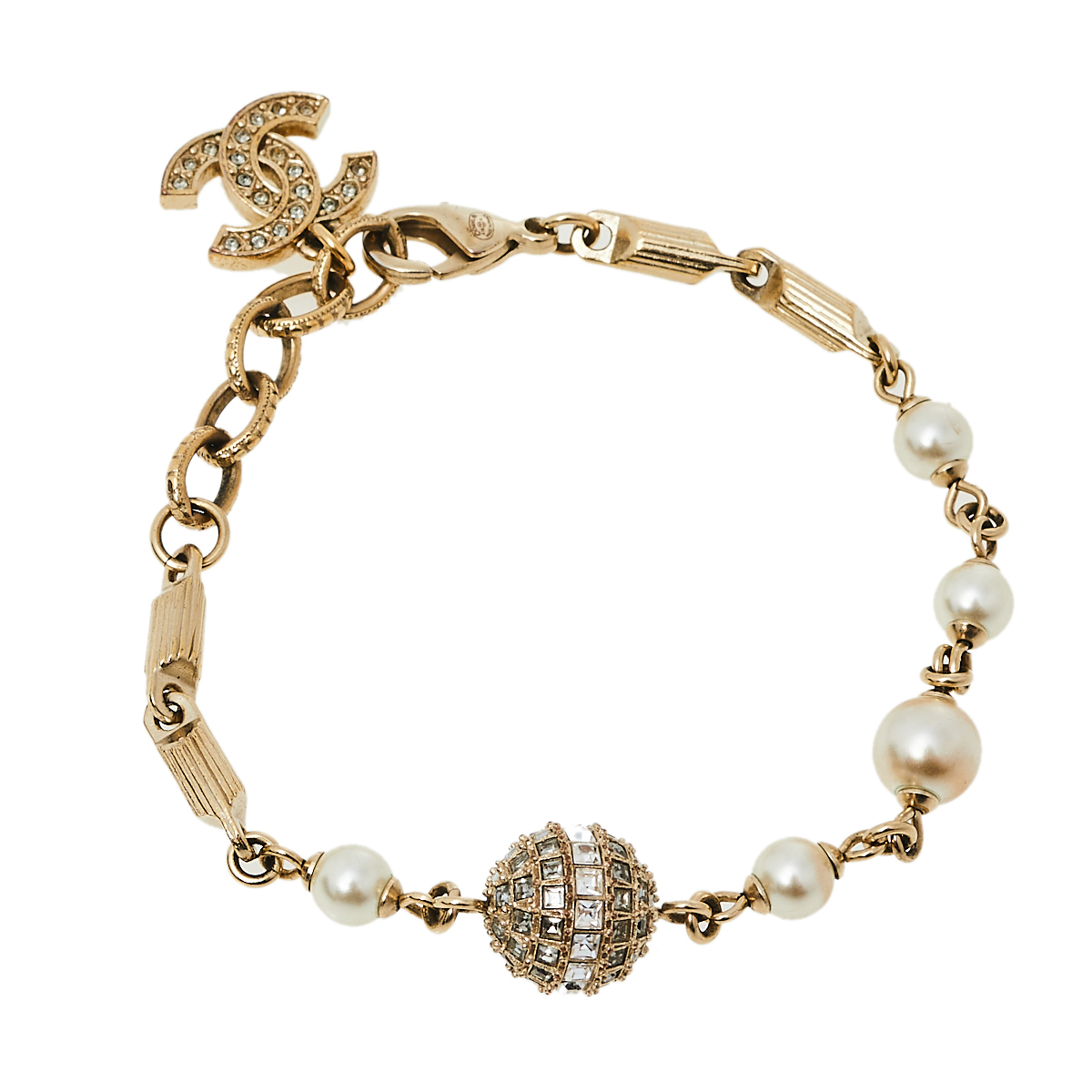 Pre-owned Chanel Gold Tone Crystal Ball And Cc Charm Bracelet
