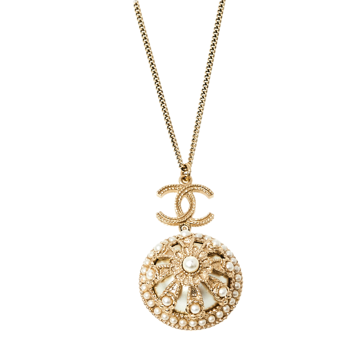 Pre-owned Chanel Gold Tone Faux Pearl Floral Dome Pendant Chain Necklace