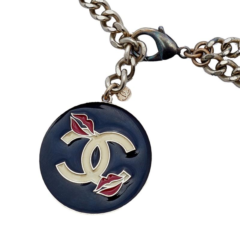 Chanel Pale Gold Tone CC Lipstick Charm Chain Belt