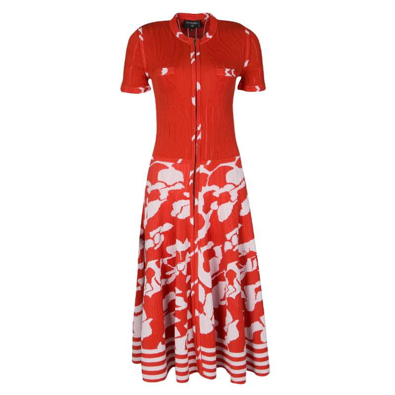 4dc7faff016 Buy Chanel Orange and White Floral Knit Zip Front Dress M 136613 at ...