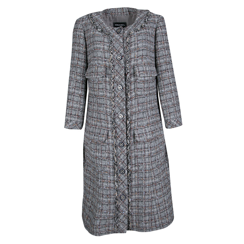 36510c030a2 Buy Chanel Grey Checkered Tweed Chain Embellished Buttoned Dress ...