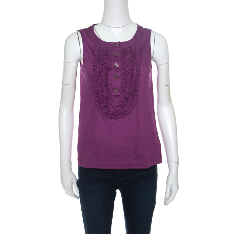 Купить со скидкой Chanel Purple Cotton Jersey Ruffled Yoke Detail Sleeveless Top S