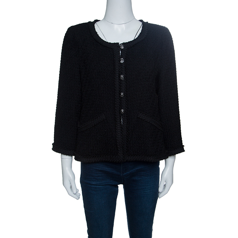 Купить со скидкой Chanel Black Textured Wool Frayed Trim Jacket L