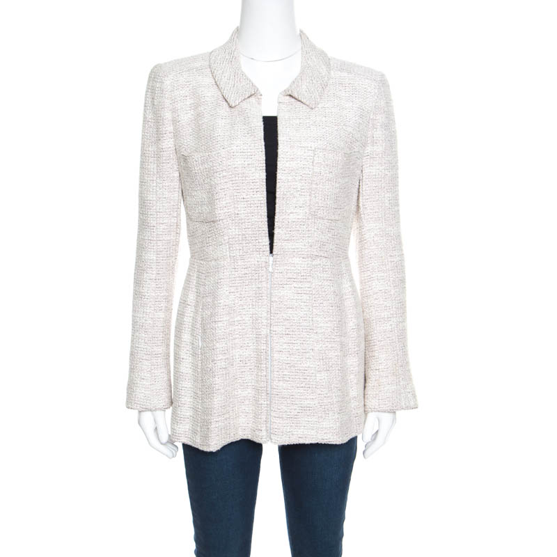 Купить со скидкой Chanel Vintage Multicolor Textured Zip Front Peplum Jacket M
