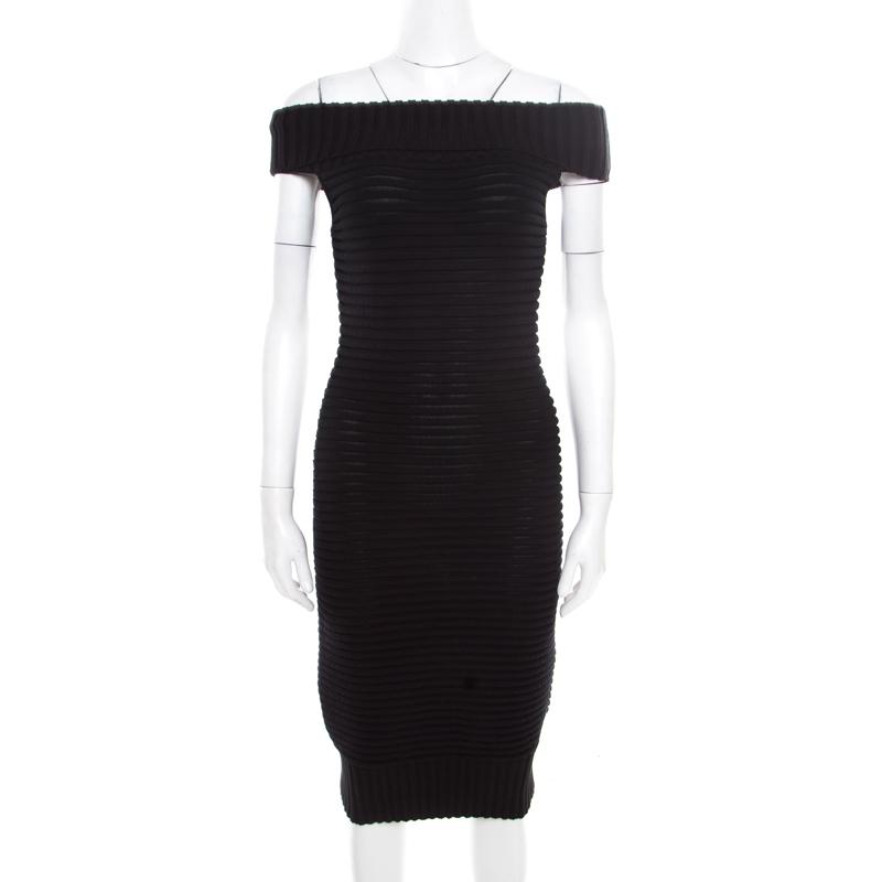 b51004dfafe0 ... Chanel Black Chunky Rib Knit Off Shoulder Bodycon Dress M. nextprev.  prevnext