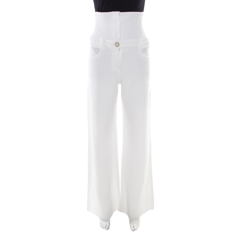 1447775ad278 ... Chanel White Textured Cotton High Waisted Wide Leg Trousers S.  nextprev. prevnext
