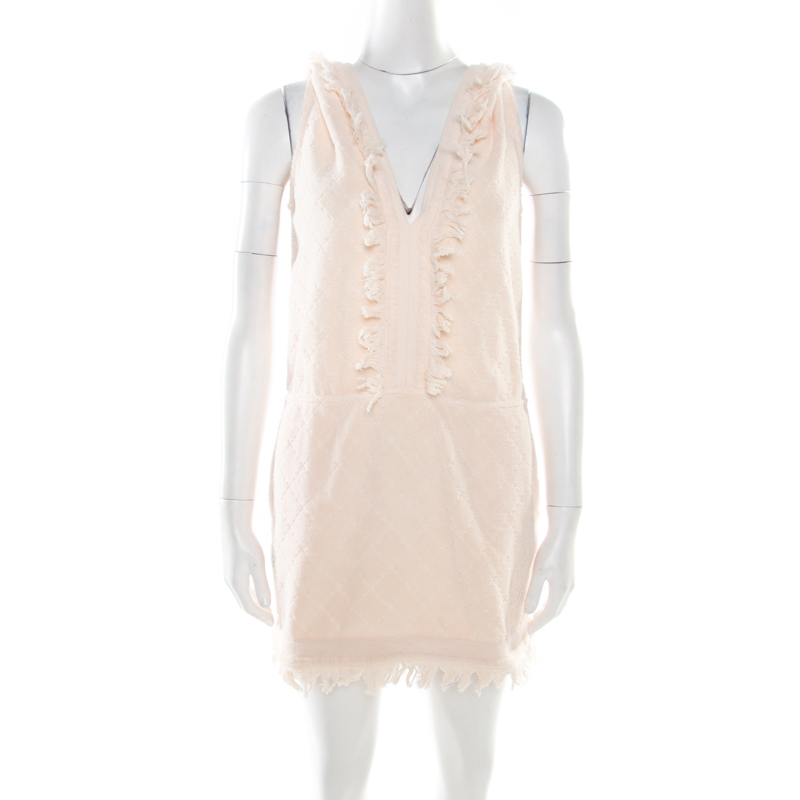 Chanel Pink Lemonade Cotton Quilt Patterned Terry Hooded Sleeveless Dress S