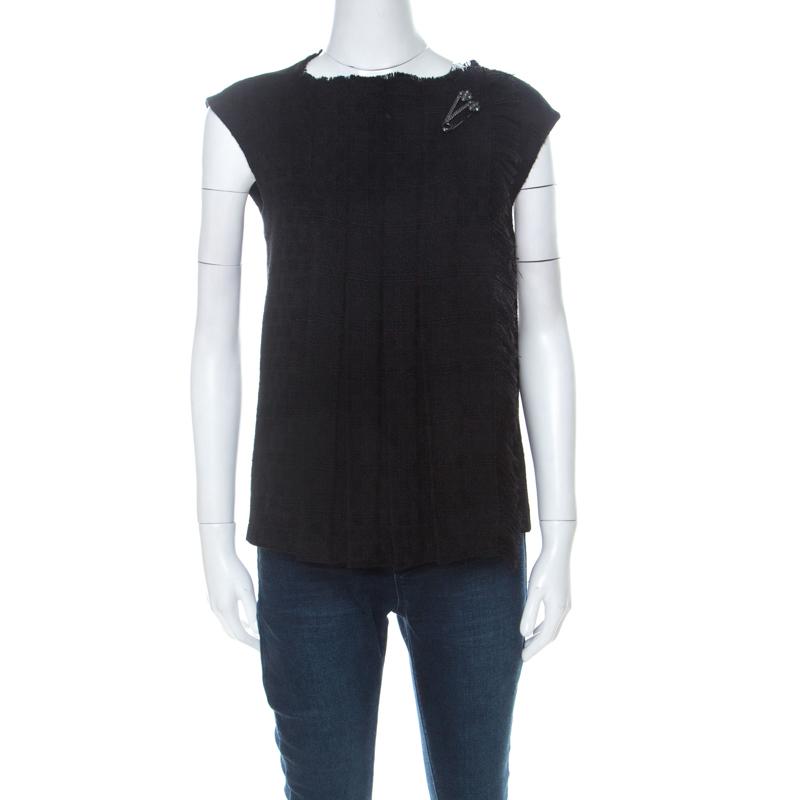 Chanel Black Wool Fringe Edge Brooch Detail Pleated Vest M
