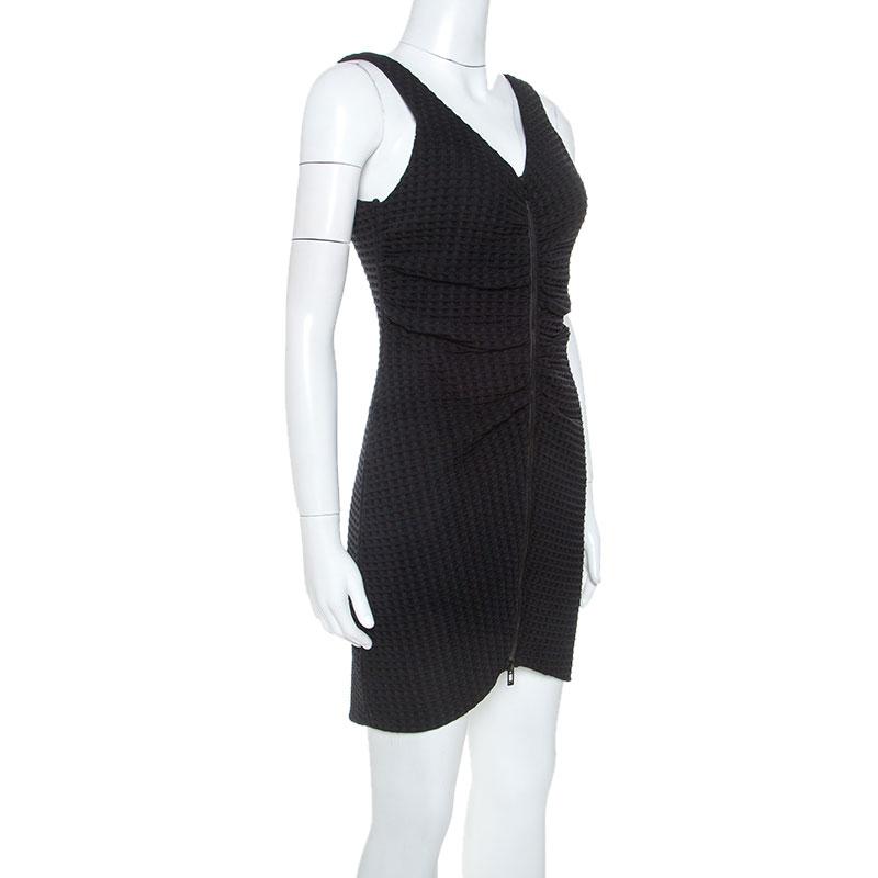 Chanel Black Geometric Patterned Ruched Detail Mini Dress